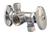 "Dual Outlet Dual Shut off Ball Valve 1/2"" FPT x 3/8"" COMP"