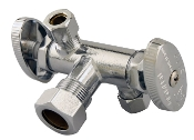 "Dual Outlet Dual Shut off Ball Valve Lead Free 5/8""CPx3/8"""